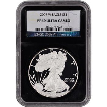 2007-W American Silver Eagle Proof - NGC PF69UCAM - 'Retro' Black Core