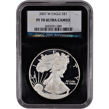 2007-W American Silver Eagle Proof - NGC PF70 UCAM - 'Retro' Black Core