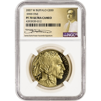 2007-W American Gold Buffalo Proof (1 oz) $50 - NGC PF70 UCAM - Fraser Label
