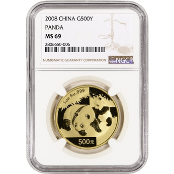 2008 China Gold Panda (1 oz) 500 Yuan - NGC MS69