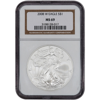 2008-W American Silver Eagle - Uncirculated Collectors Burnished Coin - NGC MS69