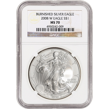 2008-W American Silver Eagle Uncirculated Collectors Burnished Coin - NGC MS70