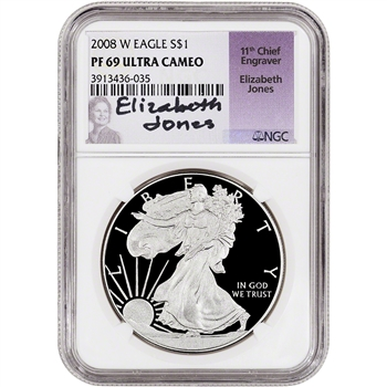 2008-W American Silver Eagle Proof - NGC PF69 UCAM - Jones Signed