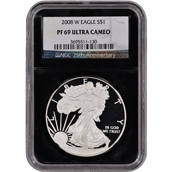 2008-W American Silver Eagle Proof - NGC PF69UCAM - Retro Black Core