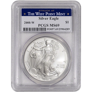 2008-W American Silver Eagle Burnished - PCGS MS69 - West Point Label