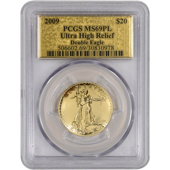 2009 US Gold $20 Ultra High Relief Double Eagle - PCGS MS69 PL - Gold Foil Label