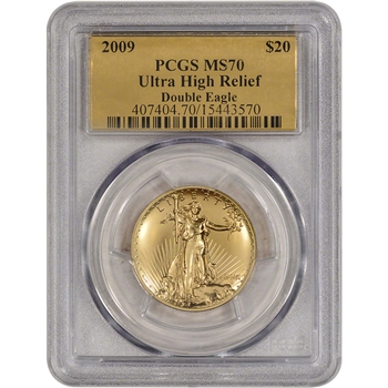 2009 US Gold $20 Ultra High Relief Double Eagle - PCGS MS70