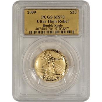 2009 US Gold $20 Ultra High Relief Double Eagle - PCGS MS70 - Gold Foil Label