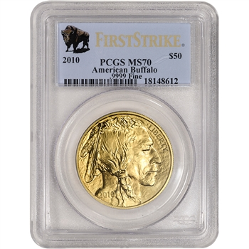 2010 American Gold Buffalo (1 oz) $50 - PCGS MS70 - First Strike Buffalo Label
