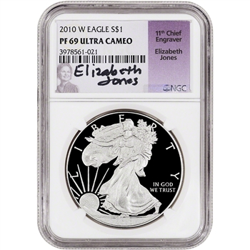 2010-W American Silver Eagle Proof - NGC PF69 UCAM - Jones Signed