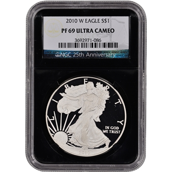 2010-W American Silver Eagle Proof - NGC PF69UCAM - 'Retro' Black Core