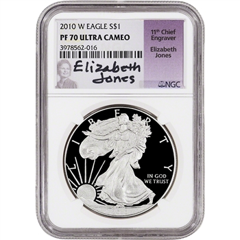 2010-W American Silver Eagle Proof - NGC PF70 - Elizabeth Jones Signed