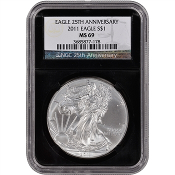 2011 American Silver Eagle - NGC MS69 - 'Retro' Black Core