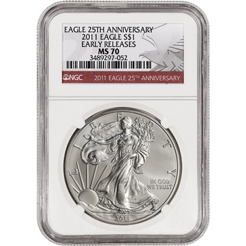 2011 American Silver Eagle - NGC MS70 - Early Releases - 25th Ann Eagle Label
