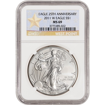 2011-W American Silver Eagle - Uncirculated Collectors Burnished - NGC MS69