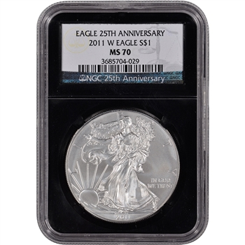 2011-W American Silver Eagle Uncirculated Burnished  NGC MS70 'Retro' Black Core