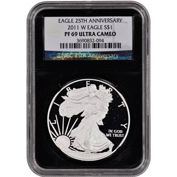 2011-W American Silver Eagle Proof - NGC PF69UCAM - 'Retro' Black Core