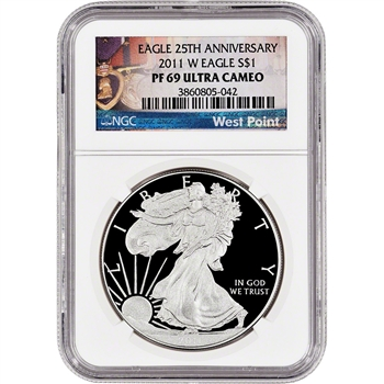 2011-W American Silver Eagle Proof - NGC PF69 UCAM - West Point Label
