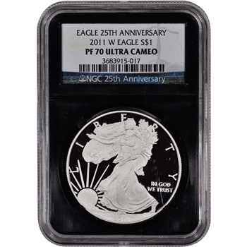 2011-W American Silver Eagle Proof - NGC PF70UCAM - 'Retro' Black Core