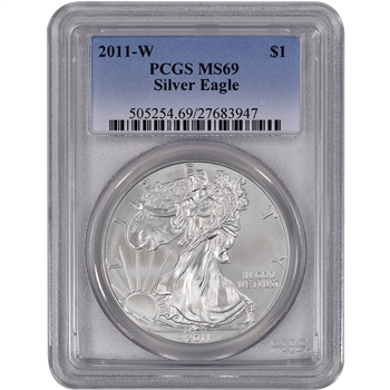 2011-W American Silver Eagle Uncirculated Collectors Burnished - PCGS MS69