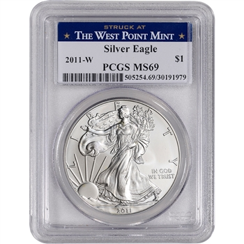 2011-W American Silver Eagle Burnished - PCGS MS69 - West Point Label