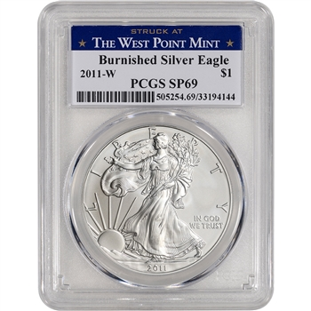 2011-W American Silver Eagle Burnished - PCGS SP69 West Point Label