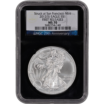 2012-(S) American Silver Eagle - NGC MS70 - First Releases - 'Retro' Black Core