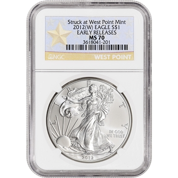 2012-(W) American Silver Eagle - NGC MS70 - Early Releases - WP Star Label