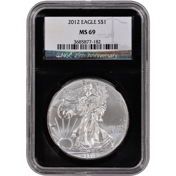 2012 American Silver Eagle - NGC MS69 - 'Retro' Black Core