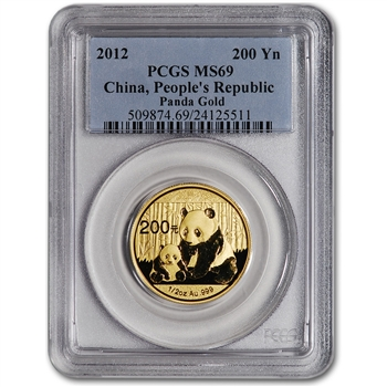 2012 China Gold Panda (1/2 oz) 200 Yuan - PCGS MS69