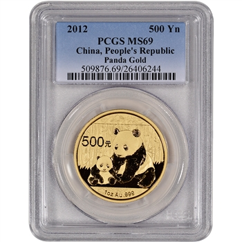 2012 China Gold Panda (1 oz) 500 Yuan - PCGS MS69