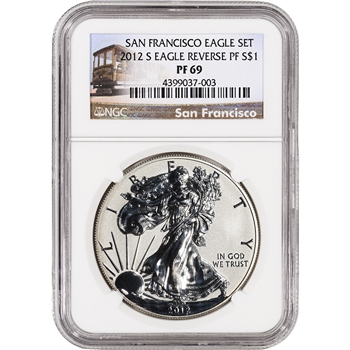 2012-S American Silver Eagle - Reverse Proof - NGC PF69 - Trolley Label