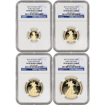 2012-W American Gold Eagle Proof 4-pc Year Set - NGC PF69 UCAM - Early Releases