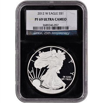 2012-W American Silver Eagle Proof - NGC PF69UCAM - 'Retro' Black Core