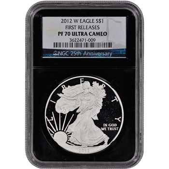 2012-W American Silver Eagle Proof - NGC PF70 First Releases 'Retro' Black Core