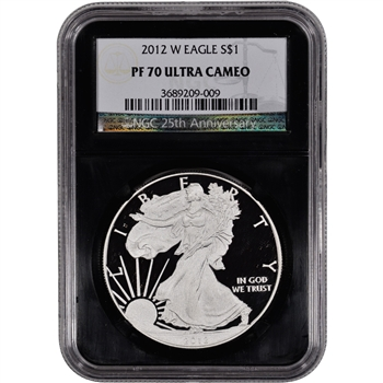 2012-W American Silver Eagle Proof - NGC PF70UCAM - 'Retro' Black Core