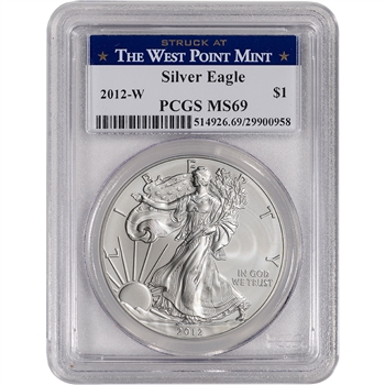2012-W American Silver Eagle Burnished - PCGS MS69 - West Point Label