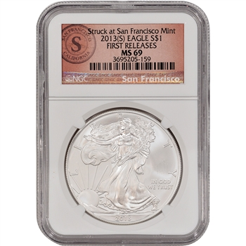 2013-(S) American Silver Eagle - NGC MS69 - First Releases - SF Logo Label
