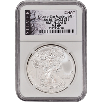 2013-(S) American Silver Eagle - NGC MS69 - First Releases - Silver Label
