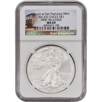 2013-(S) American Silver Eagle - NGC MS69 - First Releases - Trolley Label
