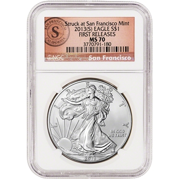 2013-(S) American Silver Eagle - NGC MS70 - First Releases - SF Logo Label