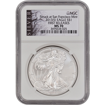 2013-(S) American Silver Eagle - NGC MS70 - First Releases - Silver Label