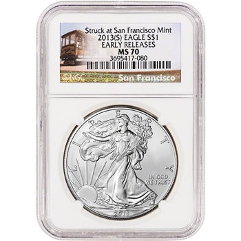2013-(S) American Silver Eagle - NGC MS70 - First Releases - Trolley Label