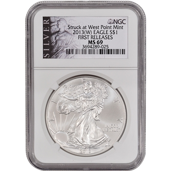 2013-(W) American Silver Eagle - NGC MS69 - First Releases - Silver Label