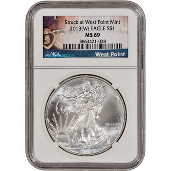 2013-(W) American Silver Eagle - NGC MS69 - West Point Medals Label
