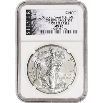 2013-(W) American Silver Eagle - NGC MS70 - First Releases - Silver Label