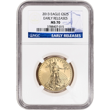 2013 American Gold Eagle (1/2 oz) $25 - NGC MS70 - Early Releases