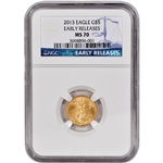 2013 American Gold Eagle (1/10 oz) $5 - NGC MS70 - Early Releases