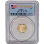 2013 American Gold Eagle (1/10 oz) $5 - PCGS MS70 - First Strike