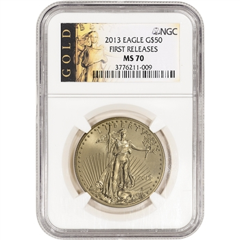 2013 American Gold Eagle (1 oz) $50 - NGC MS70 - First Releases - Gold Label
